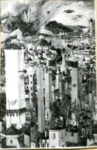 Paesaggio medievale con incendio - Bernhard Gillessen