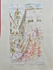 Scene di Vita Medioevale - Bozzetto per dipinto - Bernhard Gillessen